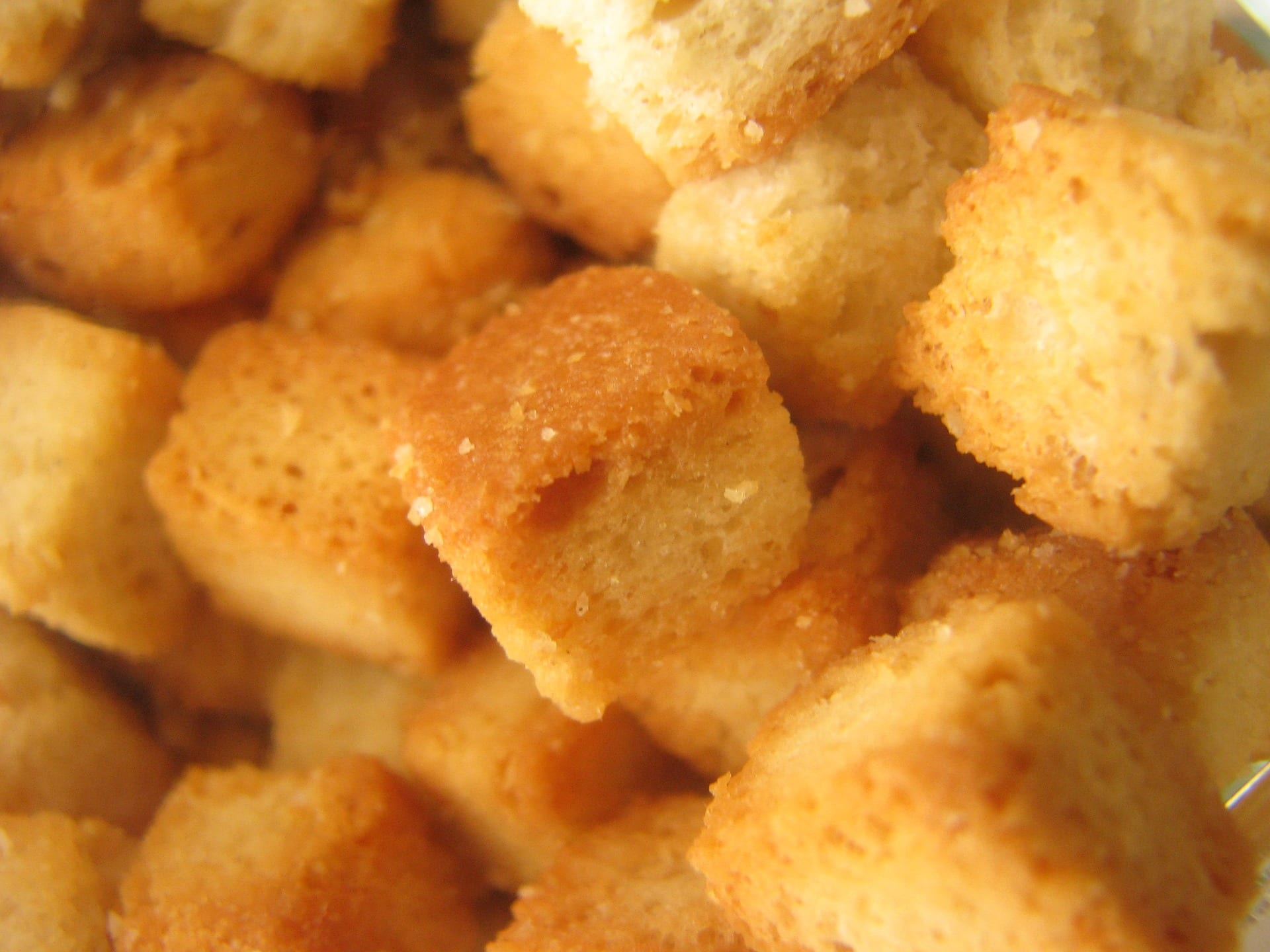 Croutons, up close and personal.