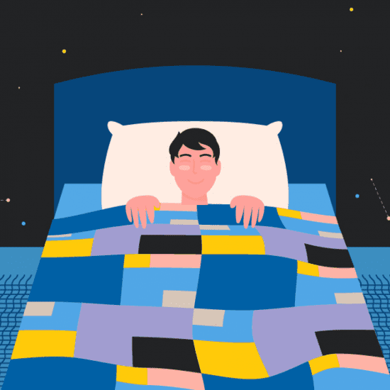 Stylized image of a young man asleep in bed. The night sky with a crescent moon is the backdrop behind him.